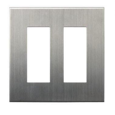 クールメタル(ヘアライン仕上) 2連スイッチプレート・コンセントカバー(スイッチカバー、コンセントプレート)
