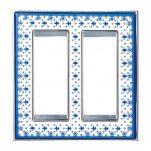 ヴィンテージ ポーセリン(ブルーアイリス/ブライト  クローム) 2連スイッチプレート・コンセントカバー(スイッチカバー、コンセントプレート)