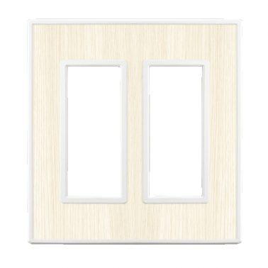 フレックス ホワイト パネル(ホワイトオーク) 2連スイッチプレート・コンセントカバー(スイッチカバー、コンセントプレート)