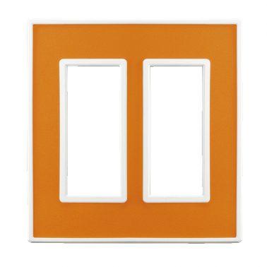フレックス ホワイト パネル(アクセントオレンジ) 2連スイッチプレート・コンセントカバー(スイッチカバー、コンセントプレート)