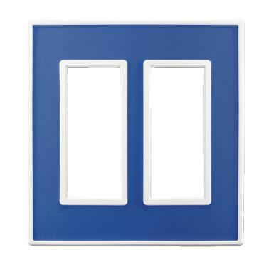 フレックス ホワイト パネル(アクセントブルー) 2連スイッチプレート・コンセントカバー(スイッチカバー、コンセントプレート)