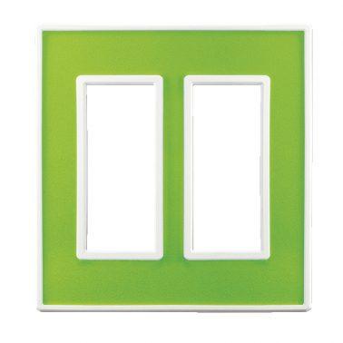 フレックス ホワイト パネル(アクセントグリーン) 2連スイッチプレート・コンセントカバー(スイッチカバー、コンセントプレート)