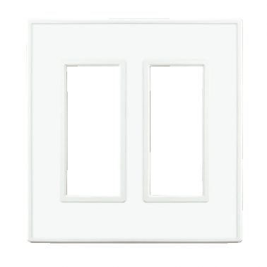 フレックス ホワイト パネル(クリアーホワイト) 2連スイッチプレート・コンセントカバー(スイッチカバー、コンセントプレート)
