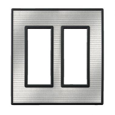 フレックス ブラック パネル(シルバーメタル) 2連スイッチプレート・コンセントカバー(スイッチカバー、コンセントプレート)
