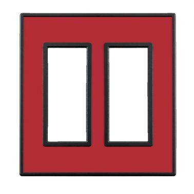 フレックス ブラック パネル(クリアーレッド) 2連スイッチプレート・コンセントカバー(スイッチカバー、コンセントプレート)