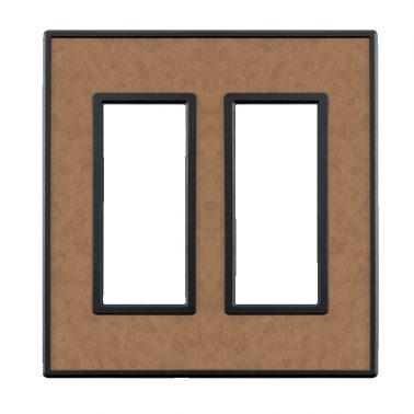 フレックス ブラック レザータッチ(マロンカーフ) 2連スイッチプレート・コンセントカバー(スイッチカバー、コンセントプレート)