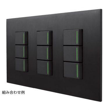クールメタル(ヘアライン仕上/ブラック) 2連スイッチプレート・コンセントカバー(スイッチカバー、コンセントプレート)