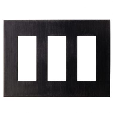 クールメタル(ヘアライン仕上/ブラック) 3連スイッチプレート・コンセントカバー(スイッチカバー、コンセントプレート)