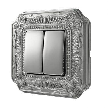 ダブルパネルスイッチセット フィレンツェ(ブライトクローム) デザインスイッチプレートセット(スイッチカバーセット)