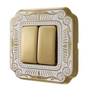 ダブルパネルスイッチセット フィレンツェ(ゴールドホワイトパティナ) デザインスイッチプレートセット(スイッチカバーセット)