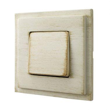 シングルパネルスイッチセット マドリッド(ホワイトデカペ) デザインスイッチプレートセット(スイッチカバーセット)