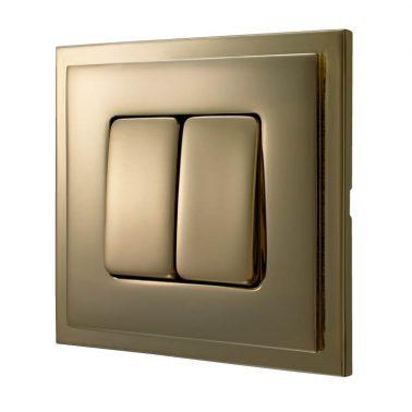 ダブルパネルスイッチセット マドリッド(ブライトゴールド) デザインスイッチプレートセット(スイッチカバーセット)