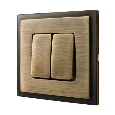 ダブルパネルスイッチセット マドリッド(ブライトパティナ) デザインスイッチプレートセット(スイッチカバーセット)