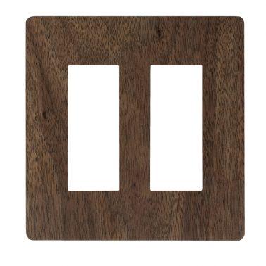 プレミアムウッド RD(天然木(ウォールナット)/クリアー塗装) 2連スイッチプレート・コンセントカバー(スイッチカバー、コンセントプレート)