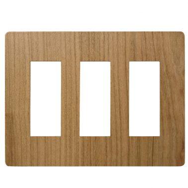 プレミアムウッド RD(天然木(ヤマザクラ)/クリアー塗装) 3連スイッチプレート・コンセントカバー(スイッチカバー、コンセントプレート)