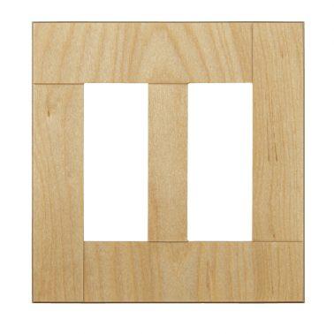 プレミアムウッド SQ(天然木(メジロカバ)/クリアー塗装) 2連スイッチプレート・コンセントカバー(スイッチカバー、コンセントプレート)
