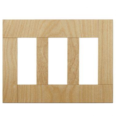 プレミアムウッド SQ(天然木(メジロカバ)/クリアー塗装) 3連スイッチプレート・コンセントカバー(スイッチカバー、コンセントプレート)